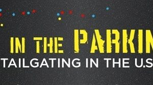 yellow text 'party in the parking lot'