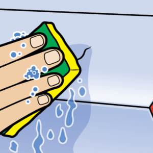 illustration of a hand holding a tool to repair a scratch