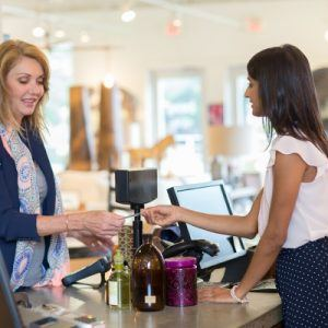 woman with cashier