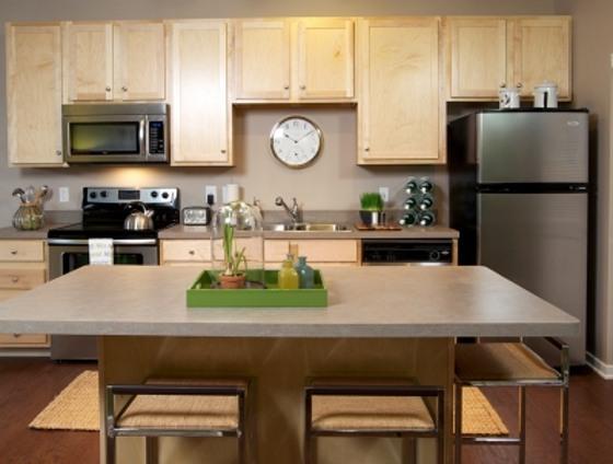 Staged kitchen.