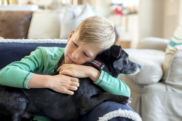 Young boy hugging small black dog on couch