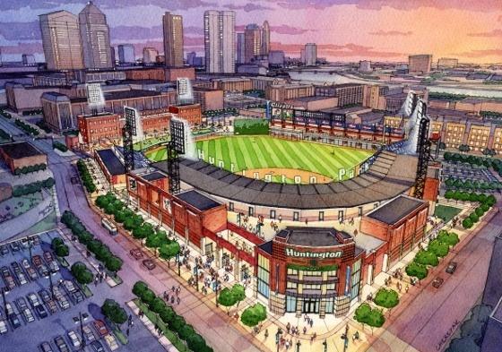 Artist's rendering of Clippers Stadium in Columbus, Ohio.