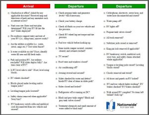 arrival and departure RV checklist