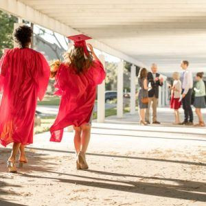College graduates walking