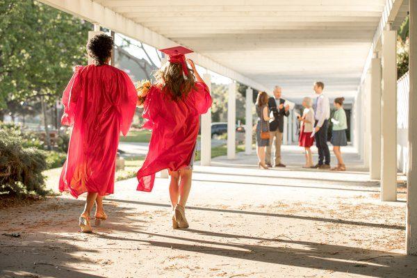 College graduates walking