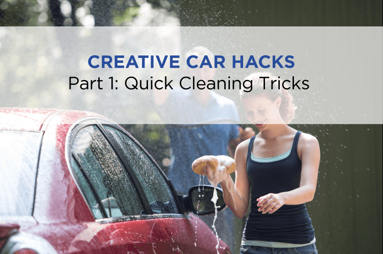 an image of a couple washing their car and text 'quick cleaning tricks'