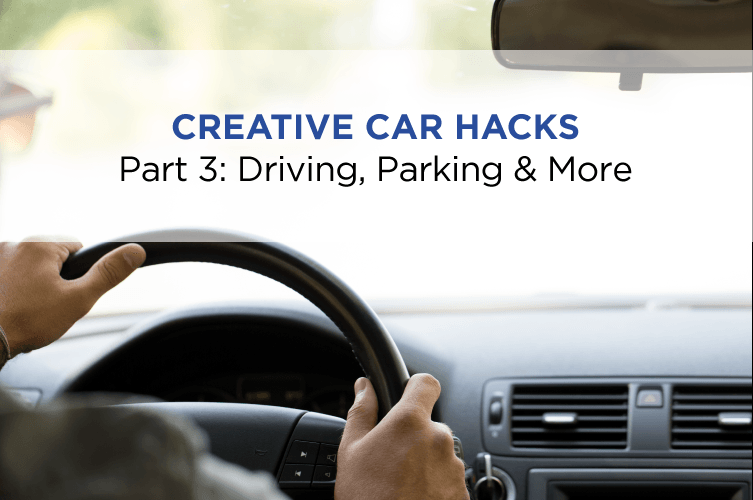 hands on a steering wheel with text 'creative car hacks driving, parking and more'