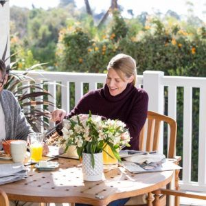 couple eating outdoors at table