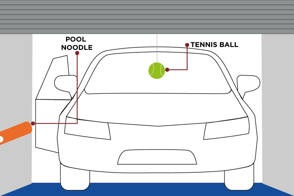 illustration of a car parked in a garage