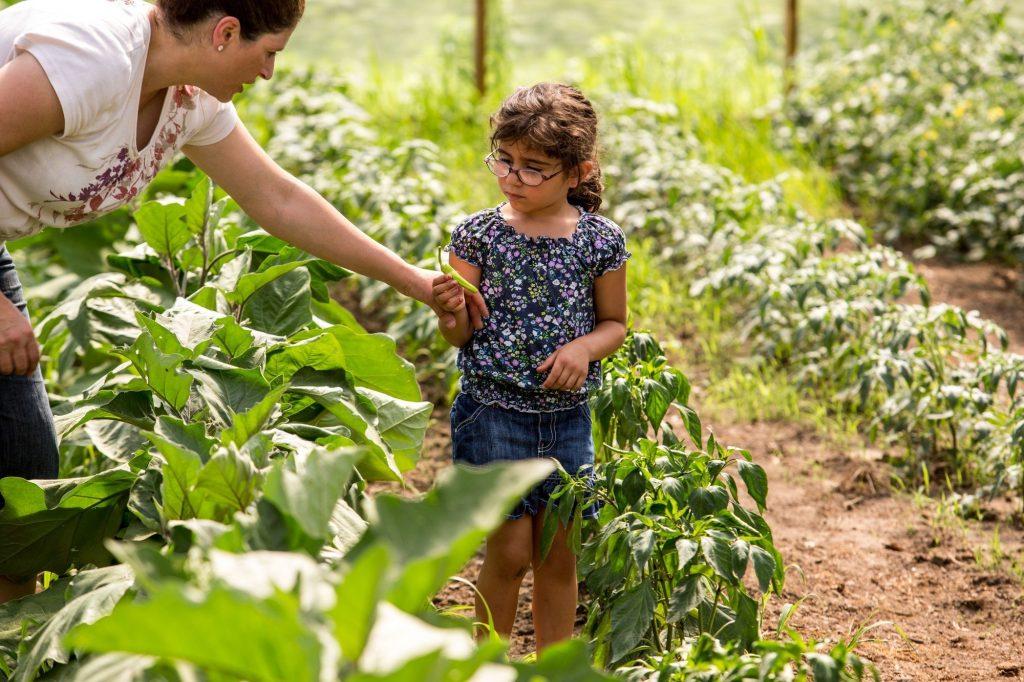 a girl holding a vegetable in a garden