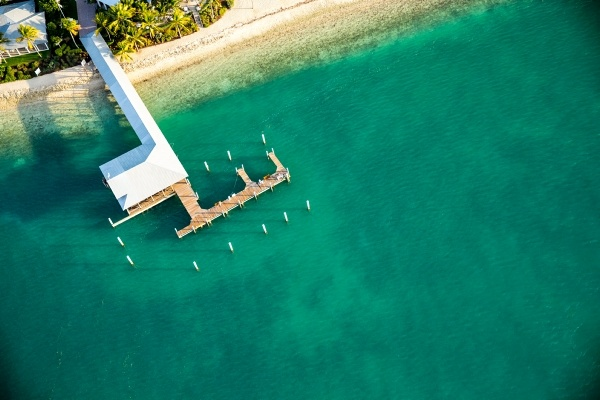 aerial view of a boat dock