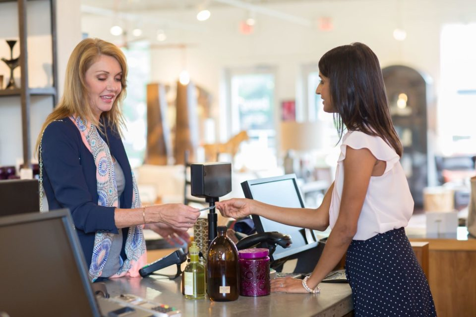 a retail worker and a customer