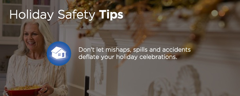 a woman standing with text 'holiday safety tips'