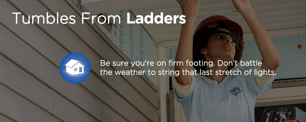 a person inspecting a roof of a house with text 'tumbles from ladders'