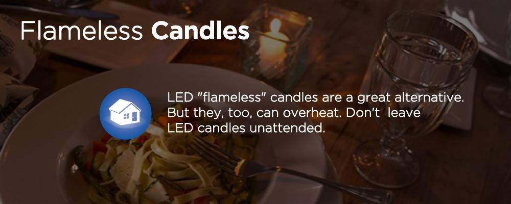 a candle on a table with text 'flameless candles'