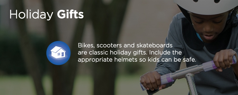 a kid an a scooter with text 'holiday gifts'