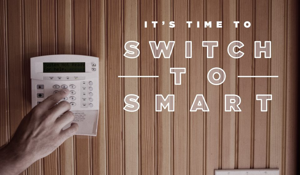 a thermostat with text 'it's time to switch to smart'