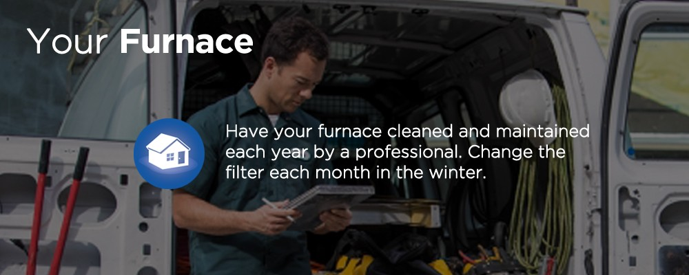a maintenance man with text 'your furnance'