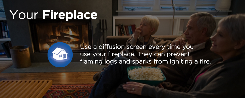 family eating popcorn near a fireplace with text 'your fireplace'