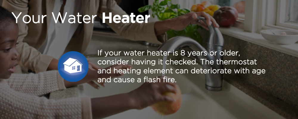 a faucet with text 'your water heater'