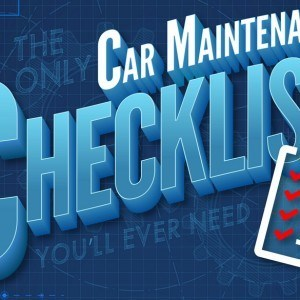 words car maintenance checklist in white a blue color