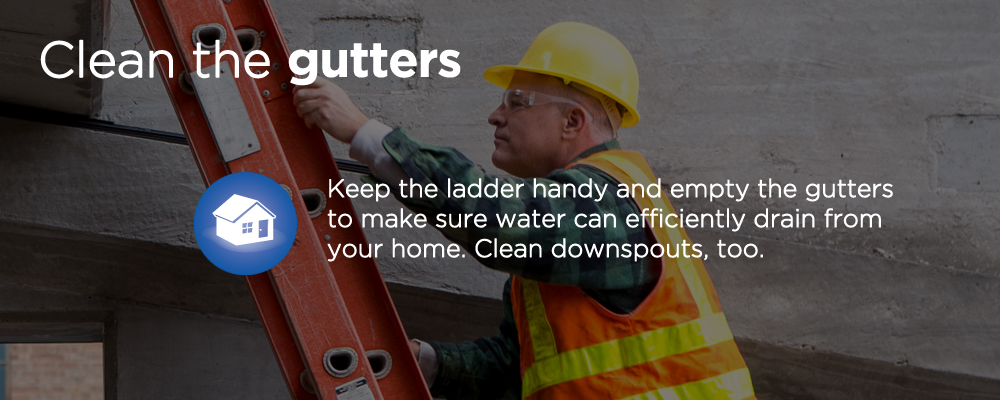 "a man on a ladder with text ""clean the gutters"""