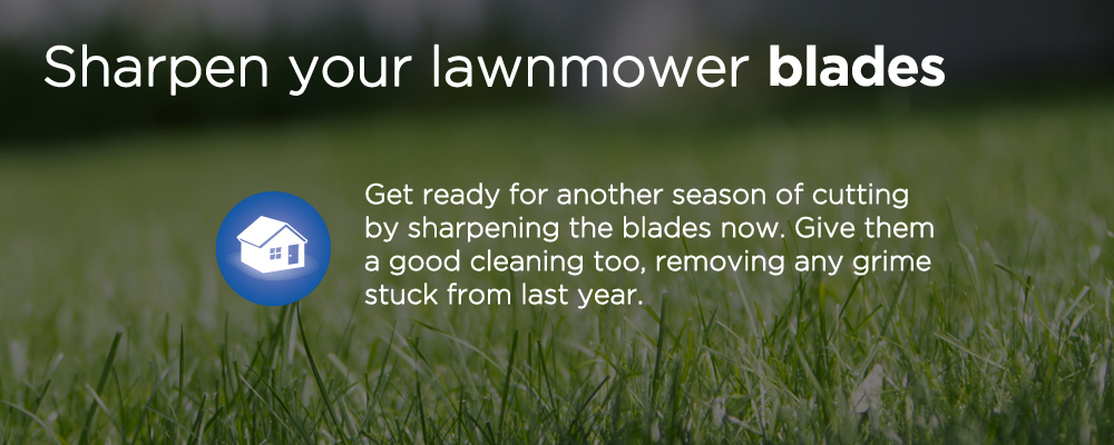 "a lawn with text ""sharpen your lawnmower blades"""