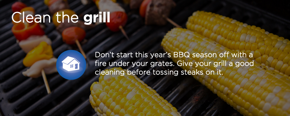 "corn on a grill with text ""clean the grill"""