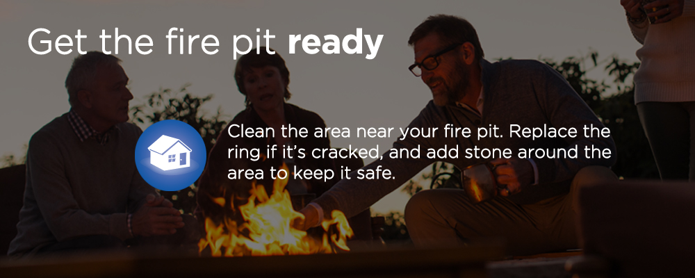"people sitting around a fire pit with text ""get the fire pit ready"""