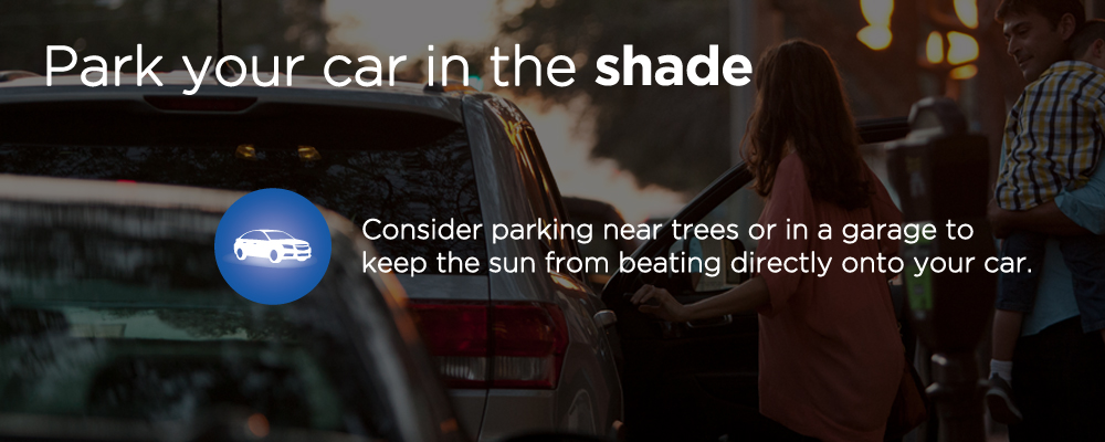 image with text 'park your car in the shade'
