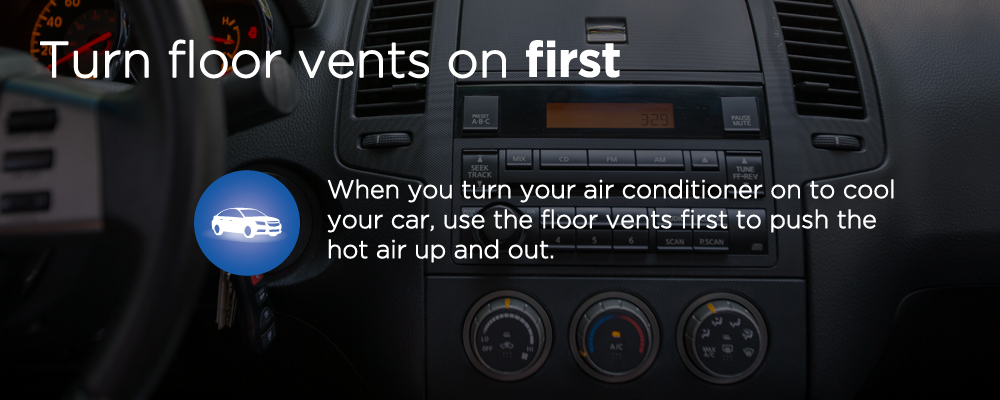 image with text 'turn floor vents on first'
