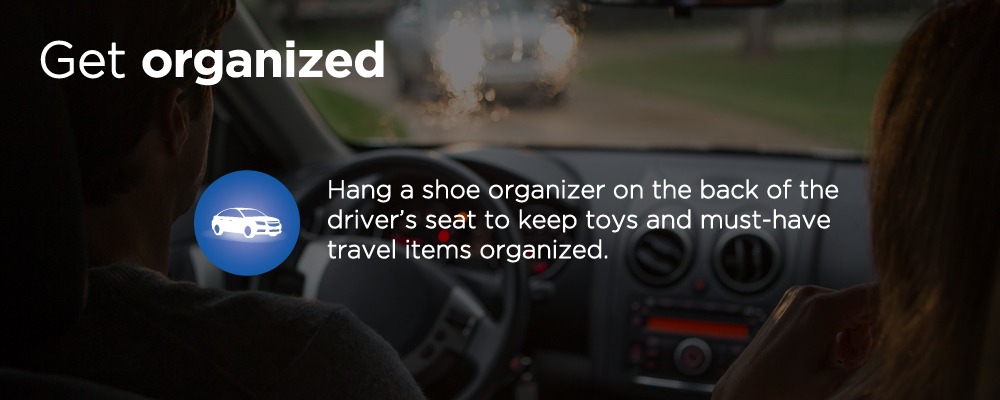 a car dashboard with text 'get organized'