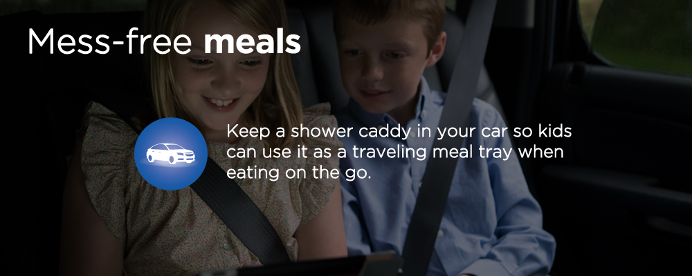 two kids bucked up in a car with text 'mess-free meals'