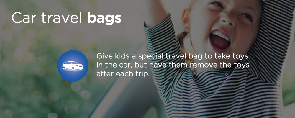 a child smiling with text 'car travel bags'