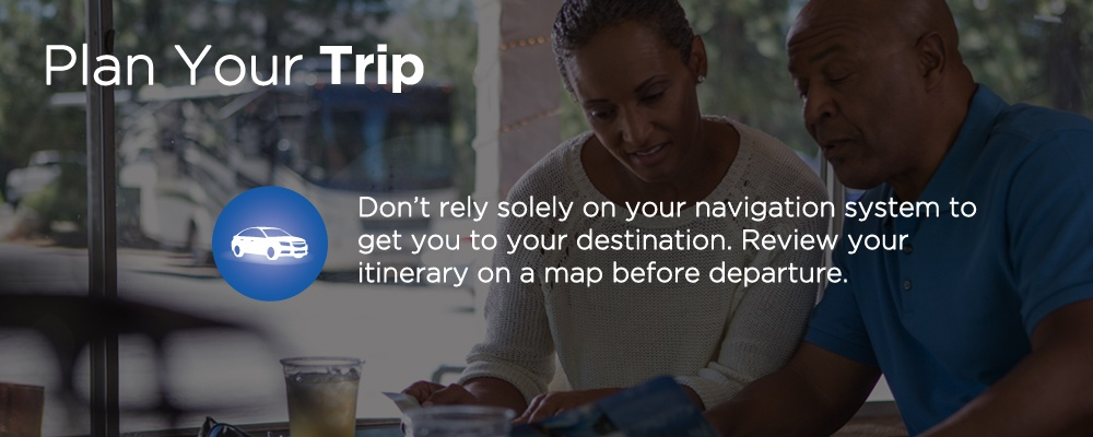 a couple looking at a map with text 'plan your trip'