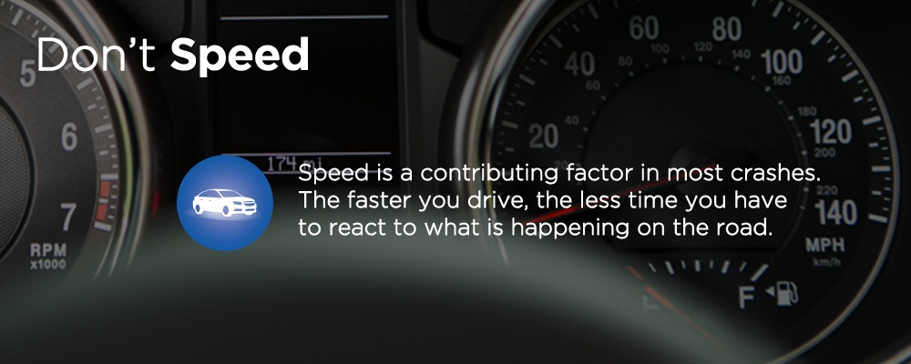 a car dashboard with text 'don't speed'