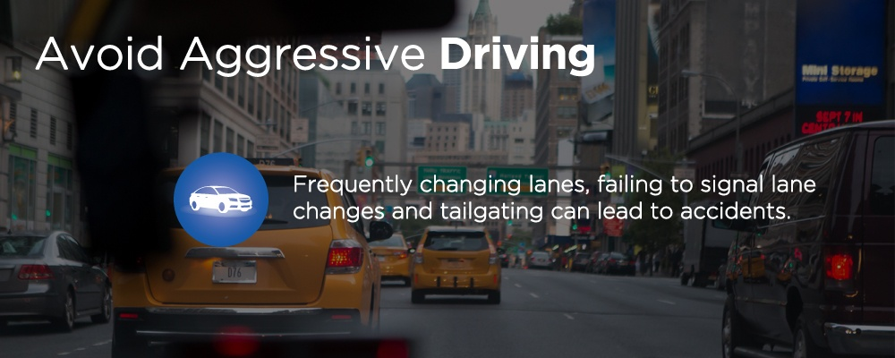 traffic with text 'avoid aggressive driving'