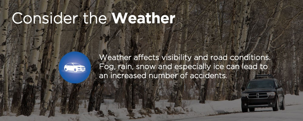 car driving in winter with text 'consider the weather'