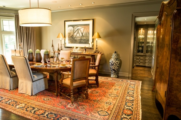 Dining room with large rug