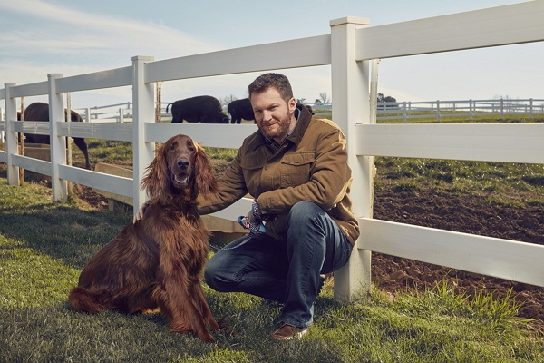 Dale Earnhardt Jr. and his dog.