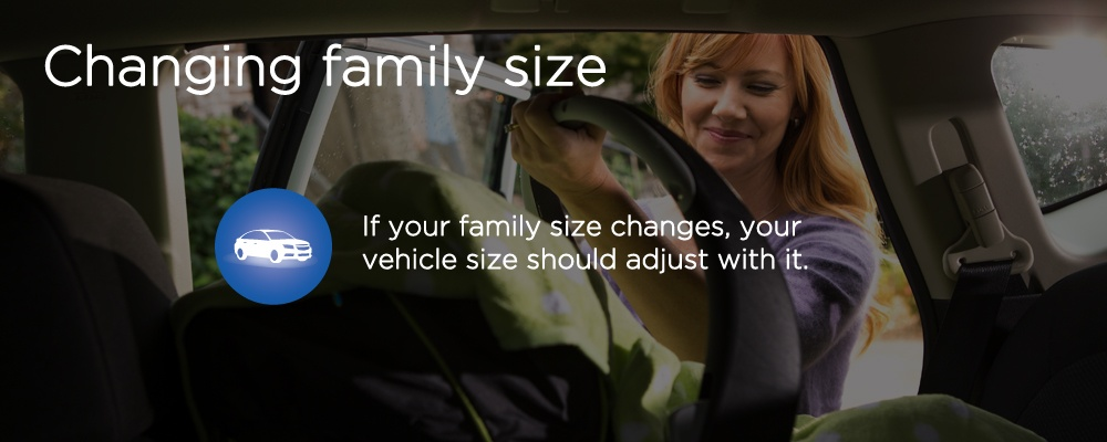 "a woman holding a car seat with text ""changing family size"""