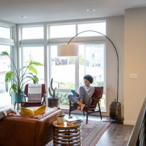 people relaxing in a living room