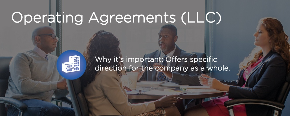 people in a meeting with text 'operating agreements (LLC)'