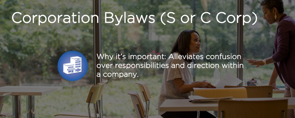 a woman sitting outside with text 'corporation bylaws (S or C Corp)