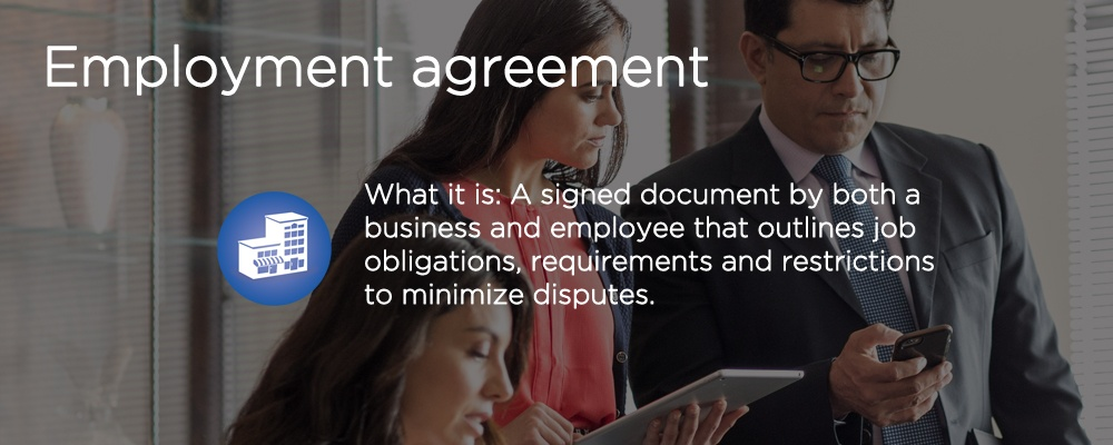 a woman looking at a document with text 'employment agreement'
