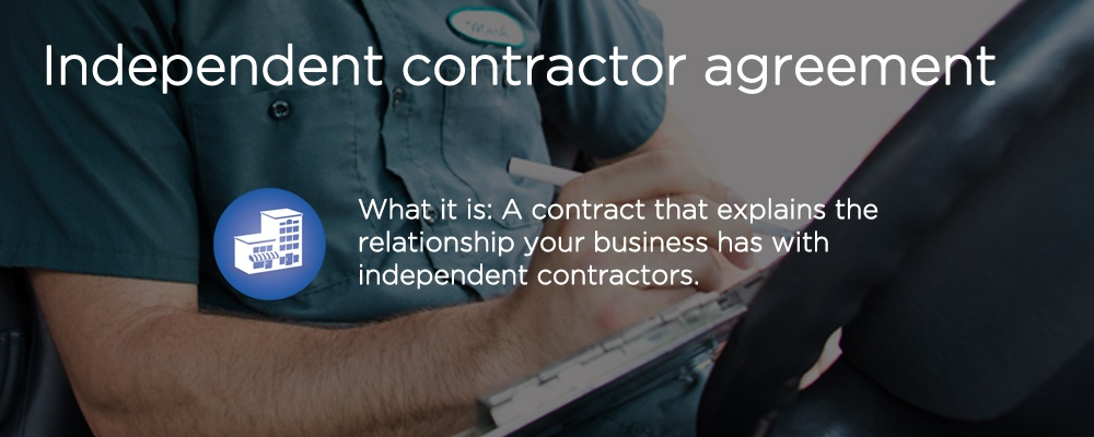 a person writing with text 'independent contractor agreement'