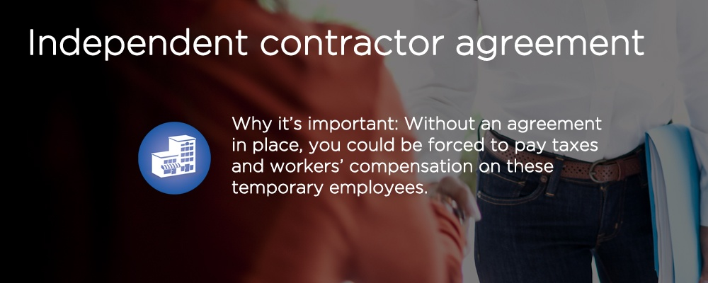 people shaking hands with text 'independent contractor agreement'