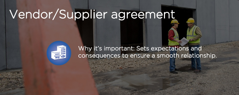 constructors with text 'vendor/supplier agreement'