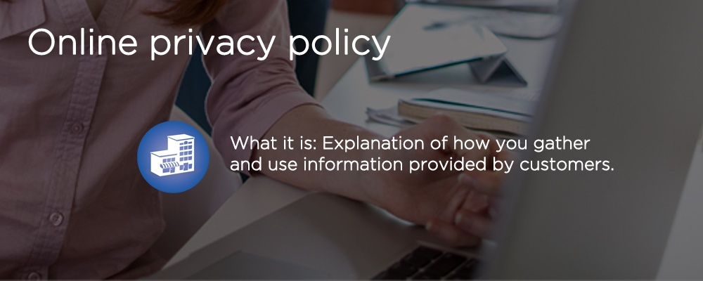 a laptop with text 'privacy policy'