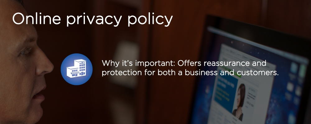a man looking at a website with text 'privacy policy'